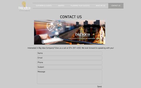 Screenshot of Contact Page bigideacompany.com - Big Idea Company Contact Us - captured Oct. 10, 2017