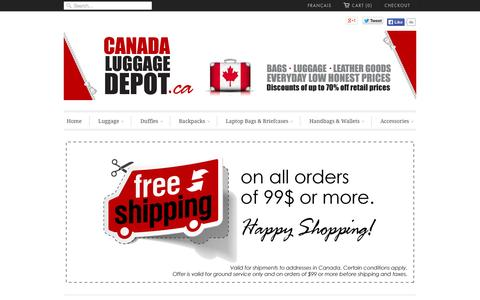 Screenshot of Home Page canadaluggagedepot.ca - Canada Luggage Depot | Luggage - Backpacks - Bags - Travel Gear - captured Sept. 22, 2014