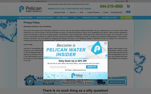 Screenshot of Privacy Page pelicanwater.com - Privacy Policies - PelicanWater.com - captured Dec. 8, 2015