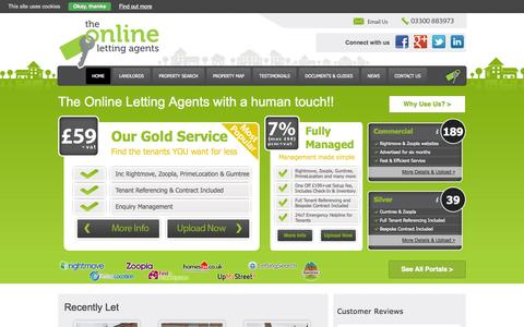 Screenshot of Home Page theonlinelettingagents.co.uk - Property Letting Services for UK DIY Landlords | The Online Letting Agents Ltd - captured Oct. 9, 2014
