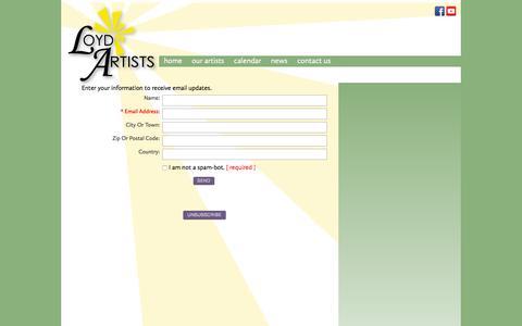 Screenshot of Signup Page loydartists.com - Loyd Artists - captured July 17, 2016