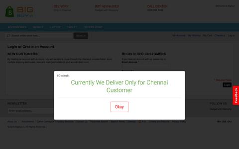 Screenshot of Login Page bigbuy.in - Customer Login - captured Feb. 7, 2016
