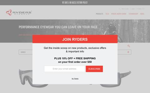 Screenshot of Products Page ryderseyewear.com - Products Archive | Ryders Eyewear - captured June 15, 2017