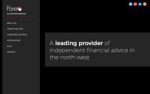Screenshot of Home Page paretofp.co.uk - Financial Adviser Manchester - Pareto Financial Planning - IFA Manchester - captured March 24, 2018