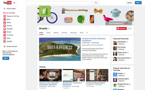 Screenshot of YouTube Page youtube.com - Shopify  - YouTube - captured Oct. 29, 2014