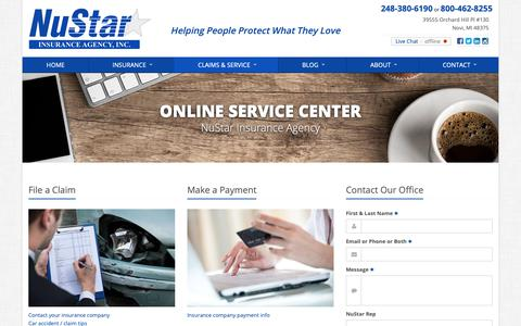 Screenshot of Support Page nustarinsurance.net - Service Your Insurance Policy | NuStar Insurance Agency - captured Oct. 19, 2018