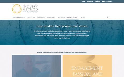 Screenshot of Case Studies Page inquirymethod.com - Case studies | Inquiry Method by Kyle Mercer - captured Dec. 16, 2016