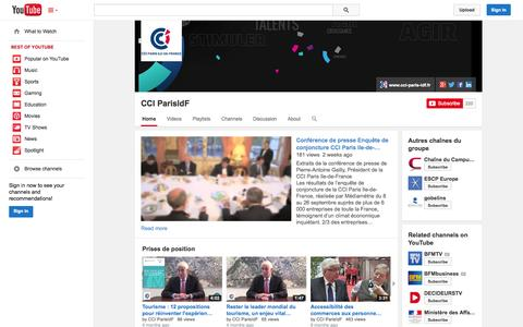 Screenshot of YouTube Page youtube.com - CCI ParisIdF  - YouTube - captured Oct. 28, 2014