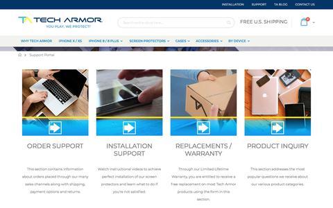 Screenshot of Support Page techarmor.com - Support Portal - captured Sept. 20, 2018