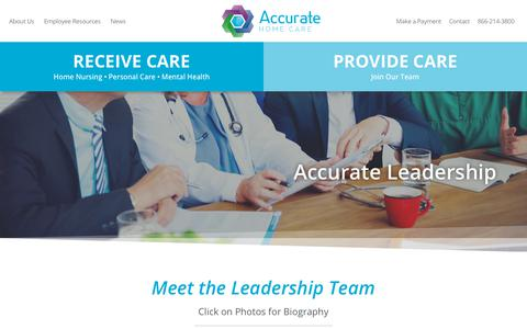 Screenshot of Team Page accuratehomecare.com - Leadership | Accurate Home Care - captured Sept. 19, 2018