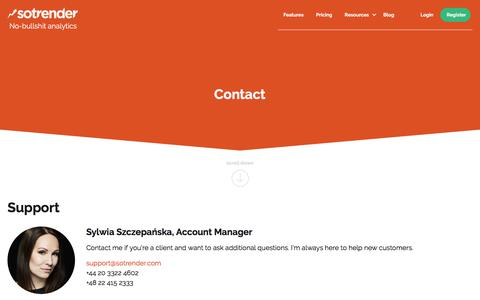 Screenshot of Contact Page sotrender.com - Sotrender. No-bullshit analytics. Analyze and optimize your marketing over social media. - captured June 15, 2017