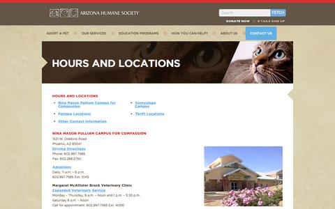 Screenshot of Locations Page azhumane.org - Hours And Locations - captured Sept. 19, 2014