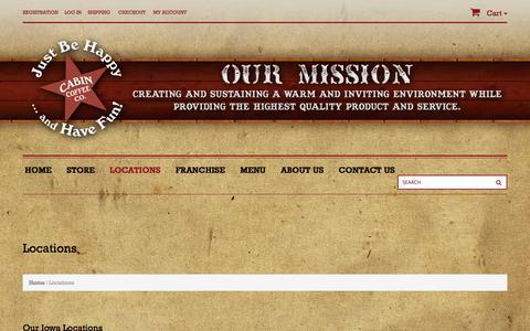 Screenshot of Locations Page cabincoffeecompany.com - Locations - Cabin Coffee CompanyCabin Coffee Company - captured Nov. 1, 2014