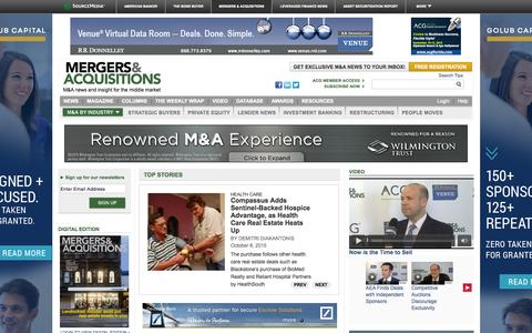 Screenshot of Home Page themiddlemarket.com - Mergers & Acquisitions - captured Oct. 8, 2015