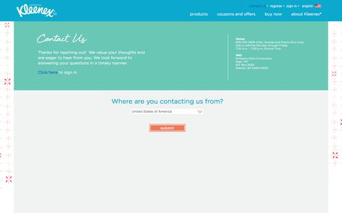 Screenshot of Contact Page kleenex.com - Contact Kleenex® - captured June 23, 2017