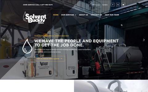 Screenshot of Home Page solventbuddy.com - Solvent Buddy Inc. – Chemical Services - captured Oct. 19, 2018