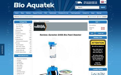 Screenshot of Press Page bioaquatek.com - News & Information - Bio Aquatek - captured Oct. 10, 2017