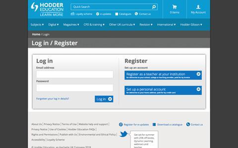 Screenshot of Login Page hoddereducation.co.uk - Hodder Education - Login - Hodder Education - captured June 9, 2018