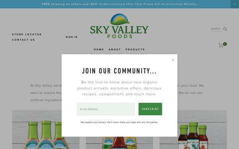Screenshot of Products Page skyvalleyfoods.com - OUR PRODUCTS — Sky Valley Foods - captured Oct. 20, 2018