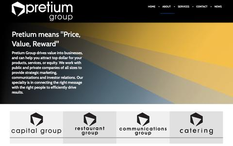 Screenshot of About Page pretiumgroup.ca - About - captured Feb. 13, 2019