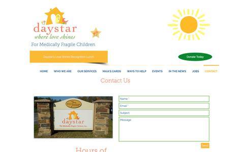 Screenshot of Contact Page daystarkids.org - Daystar Kids - Where Love Shines | CONTACT - captured Oct. 7, 2018