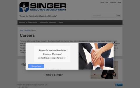 Screenshot of Jobs Page singerexecutivedevelopment.com - Careers | Singer Executive Development - captured Feb. 14, 2016