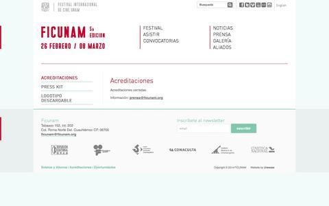 Screenshot of Press Page unam.mx - FICUNAM - Festival Internacional de Cine UNAM - captured Sept. 19, 2014