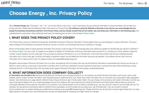 Privacy Policy - Choose Energy