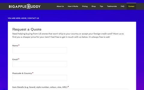 Screenshot of Contact Page bigapplebuddy.com - Contact Us - Big Apple Buddy - captured Sept. 30, 2014