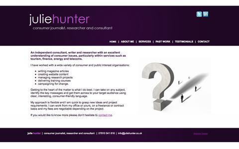 Screenshot of Home Page juliehunter.co.uk - Julie Hunter - Consumer Journalist - Researcher - Consultant - captured Sept. 30, 2014
