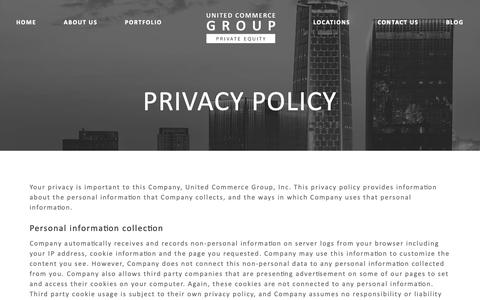 Screenshot of Privacy Page unitedcommercegroup.com - Privacy Policy – United Commerce Group - captured Oct. 18, 2018