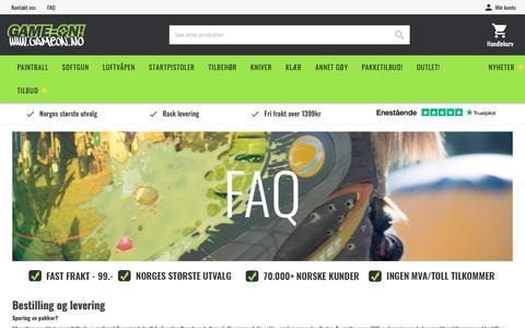 Screenshot of FAQ Page game-on.no captured Nov. 4, 2018