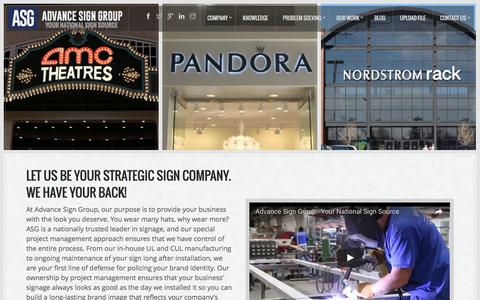 Screenshot of Home Page advancesigngroup.com - Your National Sign Company | Advance Sign Group - captured July 24, 2016