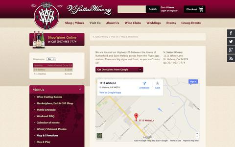 Screenshot of Maps & Directions Page vsattui.com - Directions to Our Napa Tasting Room and Winery - captured Sept. 22, 2014