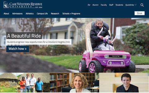 Screenshot of Home Page case.edu - Case Western Reserve University - captured Jan. 26, 2015
