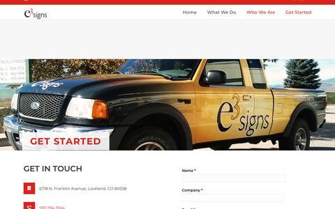Screenshot of Contact Page e3signs.com - Get Started | e3 Signs - captured Nov. 4, 2018