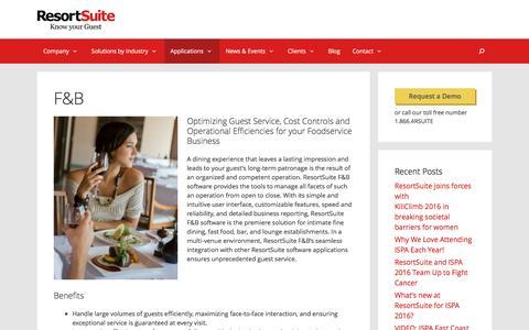 FOOD & BEVERAGE | ResortSuite