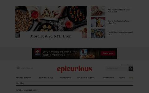 Screenshot of Site Map Page epicurious.com captured Dec. 27, 2015