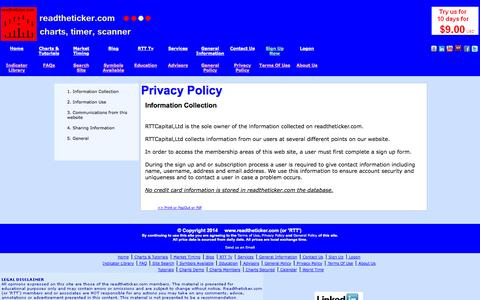 Screenshot of Privacy Page readtheticker.com - Information Collection - captured Nov. 3, 2014
