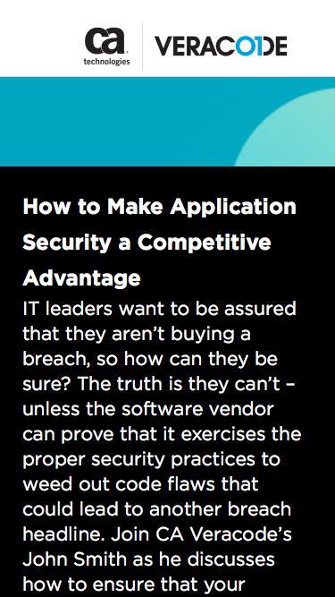 How Application Security Can Help OnDemand Webinar | CA Veracode