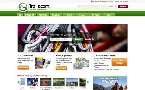 Screenshot of Home Page trails.com - Hiking Trails, Mountain Bike Trails & Trail Maps | Trails.com - captured Aug. 9, 2015