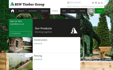 Screenshot of Products Page bsw.co.uk - Products • BSW Timber - captured Sept. 30, 2018