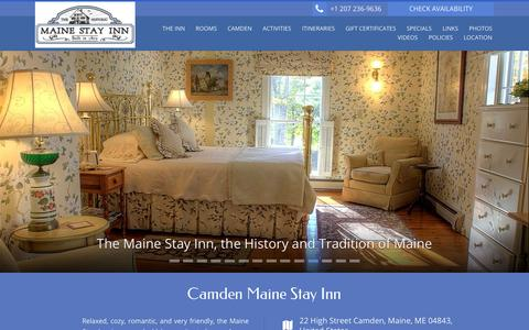 Screenshot of Home Page camdenmainestay.com - Camden Maine Stay Inn - Official Website - captured Jan. 22, 2016