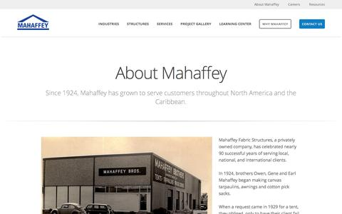 Screenshot of About Page mahaffeyusa.com - About - captured Feb. 20, 2016