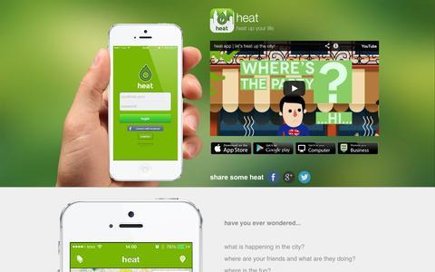 Screenshot of Home Page heat-app.com - heat | heat up your life - captured Oct. 3, 2014
