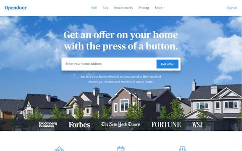 Screenshot of Home Page opendoor.com - Opendoor | Sell your home the minute you're ready. - captured July 21, 2017