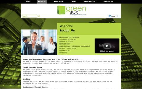 Screenshot of About Page greenboxmanagement.com - About | Green Box Management Solutions Ltd - captured Oct. 3, 2014