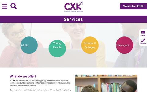 Screenshot of Services Page cxk.org - Services - cxk - captured Sept. 26, 2018