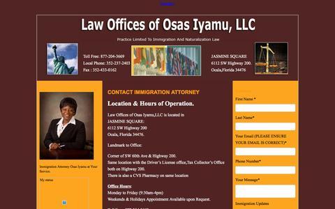 Screenshot of Contact Page osasimmigration.com - Contact Ocala Immigration and Citizenship Attorney - captured Jan. 26, 2016