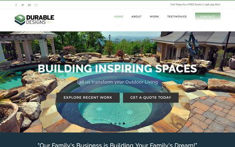 Screenshot of Home Page durable-designs.com - Durable Designs – We do beautiful stonework waterfalls, patios pergolas, fireplaces and custom landscape designs and installation. - captured Oct. 13, 2017
